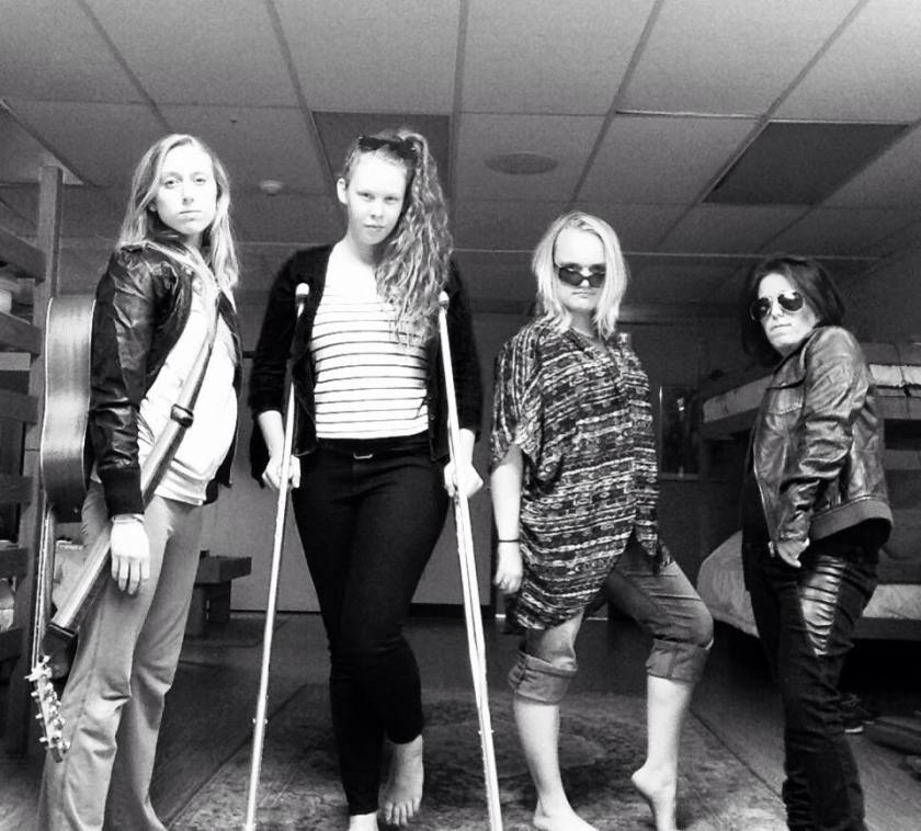 Our rock group: L to R-Brooke, Sierra, Caitlyn and me on the far right with aviators.